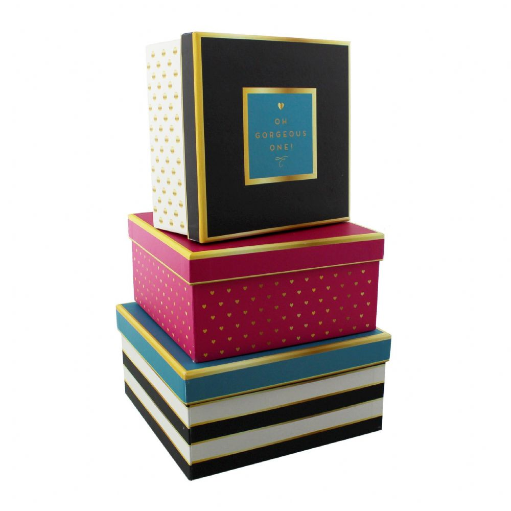 Decorative Boxes Uk: Decorative Storage Boxes Set Of Three Office And Home